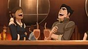 Korra y Bolin riendo