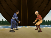 Aang und Katara Wasserbändigen