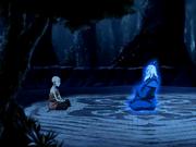 Aang spricht zu Rokus Geist