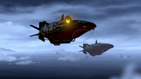 Equalist airship being destroyed