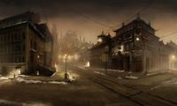 Straten in Republic City in de nacht