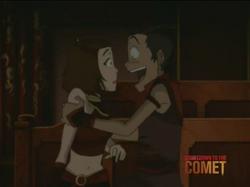 Suki en Sokka tijdens het toneelstuk