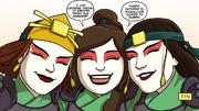 Ty Lee junto a las Guerreras Kyoshi