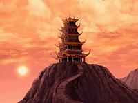 Templo del Fuego en el atardecer