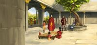 Familia de tenzin en el templo aire