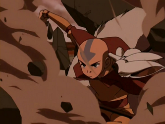 File:Aang destroys rock.png