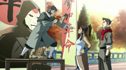 Korra with the protester