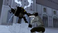 Bolin attacking a mecha tank