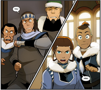 Sokka and Katara bump into Noa, Kam and Soonjei again