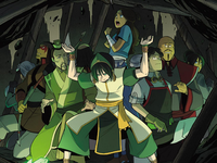 Toph holding back the cave-in