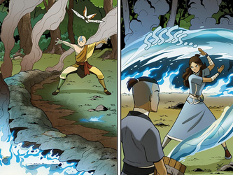 File:Aang and Katara extinguish the fire.png