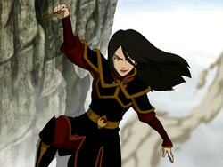 Azula hanging from a cliff