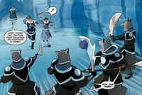 Katara and Sokka running away from Gilak