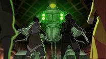Korra y el grupo enfrentando a las Nuevas Armas
