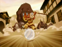 Aang guiando a los animales del zoologico