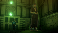 Korra and a chained Zaheer