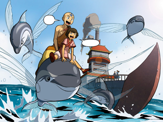 File:Aang and Kiyi ride a dolphin fish.png
