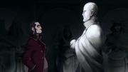 Bumi habla con la estatua de Aang