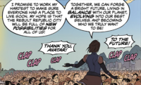 Korra holds a speech