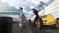 Korra und Asami auf der Rennstrecke