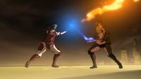 Korra luchando contra el Teniente