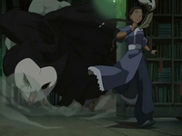 Katara flees from Wan Shi Tong