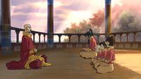 Tenzin, Jinora, Ikki, Meelo, Korra en meditación