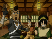 Aang, Sokka und Toph überrascht