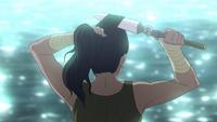 Korra cutting her hair