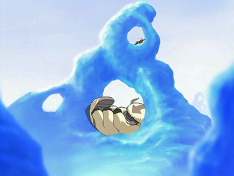 File:Aang and Appa resting on ice.png