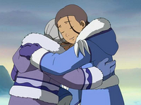 Katara and Kanna hugging