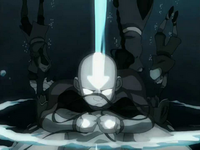 Aang creates an air pocket