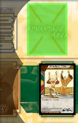 Flipped card into advantage area