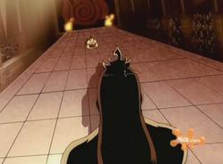 Ozai confronteerd Zuko tijdens een Agni Kai