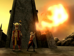 Aang firebends at the Sun Warriors' city