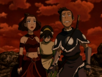 Sokka, Suki, and Toph