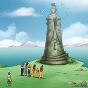 Luftlehrlinge vor der Tienhai-Statue