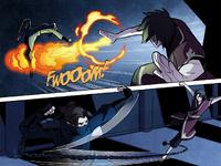 Zuko und Kori kämpfen