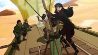 Asami piloteando un velero de arena