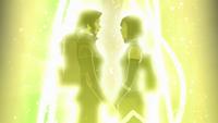Asami y Korra agarrándose de las manos