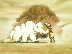 Aang en Appa ontmoeten elkaar voor de eerste keer