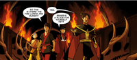 Zuko, Aang, Kei Lo, and Mai in the Dragonbone Catacombs