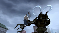 Korra fighting mecha tank