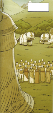 Luftnomaden vor der Tienhai-Statue