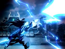 Azula fires lightning