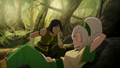Bored Korra and relaxing Toph.png
