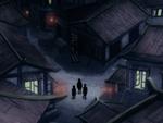 Hama's village at night