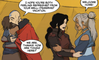 Korra and Asami being welcomed
