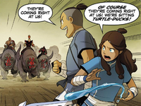 Sokka and Katara run