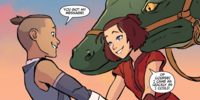 Sokka and Suki are reunited in Cranefish Town